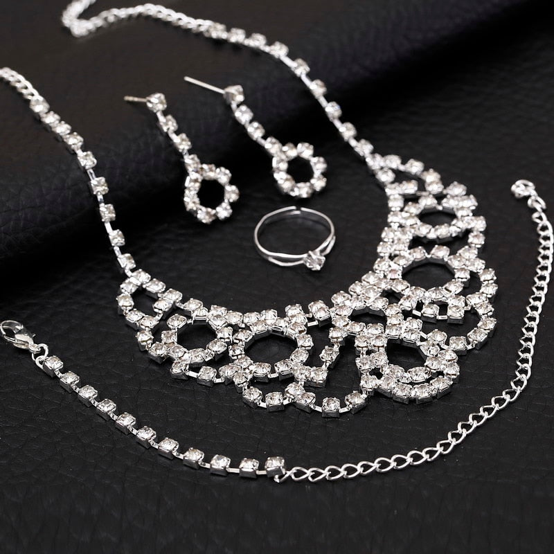 Silver Necklace, Ring< Bracelet and Earrings Sets with Rhinestones