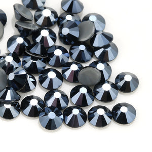 Shiny Black Hot Fix AB Crystal Flat Back Rhinestones