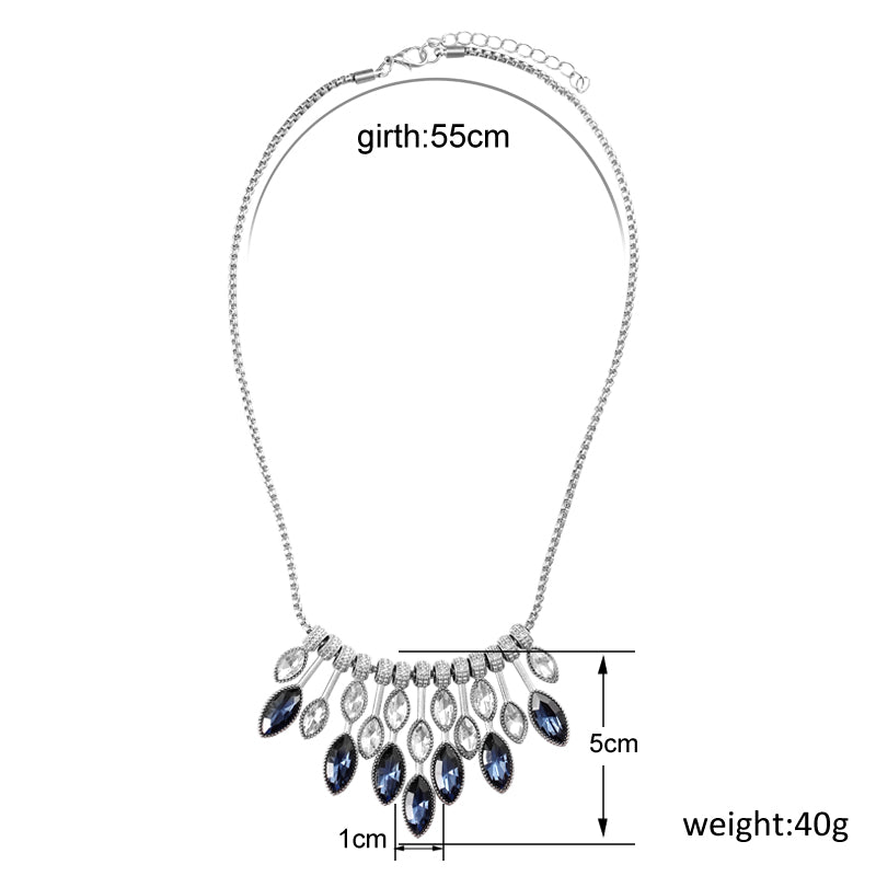 High Fashion Silver Plated Crystal Choker Necklaces