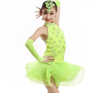 Girl's Sequined Latin Dance Competition Skating Dress