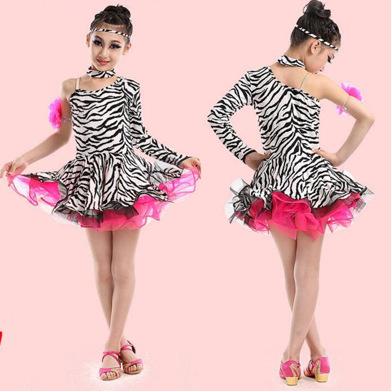 Zebra-stripe Latin Dance Salsa Dress for Girls