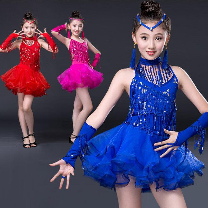 Girls Sequined Latin Skating or Ballroom Salsa Dancewear