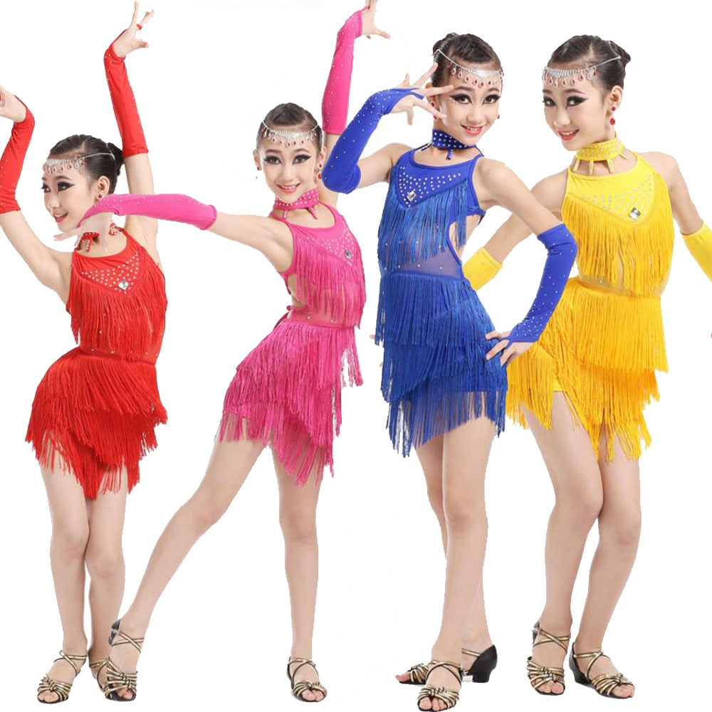 Girls Latin Salsa Performance Dress