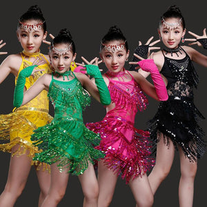 Kids and Adult Sequined Latin Dance Costumes
