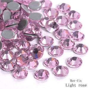 Light Rose Hot Fix Rhinestone Crystals SS6 to SS30