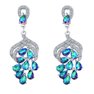 New Fashion Silver Plated Rhinestone Long Drop Earrings