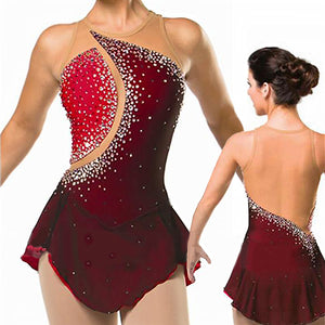 Women's Sparkling Red Figure Skating Dress