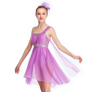 One Shoulder Lyrical Dance Dress with Rhinestones