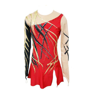 Custom Red, Black and Gold Figure Skating Dress