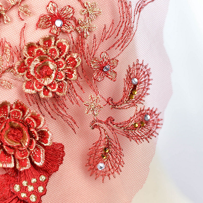 3D Flower Embroidered Lace Applique with Rhinestones
