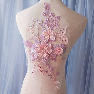 Floral Sequined Peal and Rhinestone Applique
