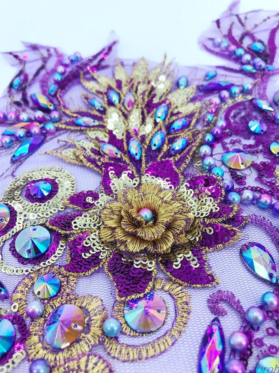 3d Beaded Rhinestones and Lace Applique