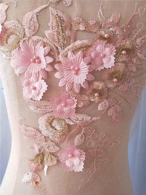 Pink Flower Rhinestone Sew-On Appliques