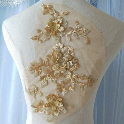 Sequin Flower Aplique Sew On Trims