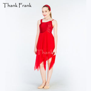 Sequin Chiffon Camisole Red Lyrical Dance Dress