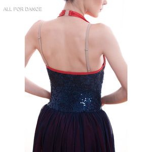 Navy Blue with Red Lyrical Dance Dress