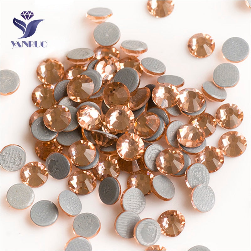 SS6-SS30 Light Peach Iron On Hot Fix Crystal Rhinestones
