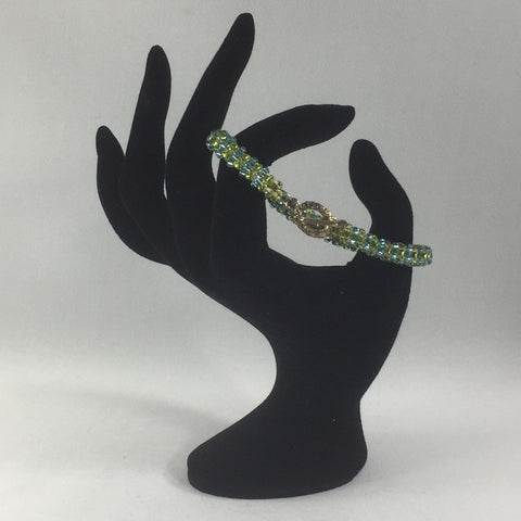 Simple Two Shades of Green in a Tubular Herringbone Pattern Bracelet.  Size 6-1/2""