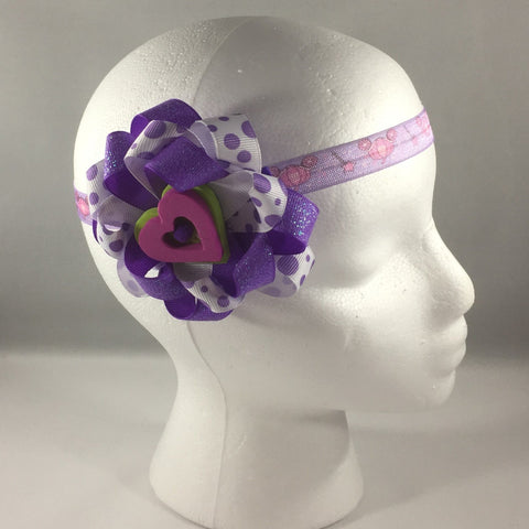 Stitched Headband for a baby age 6 - 12 mos.  Pretty Purple Ribbon Bow is on a hair-clip so it can be worn without the headband.