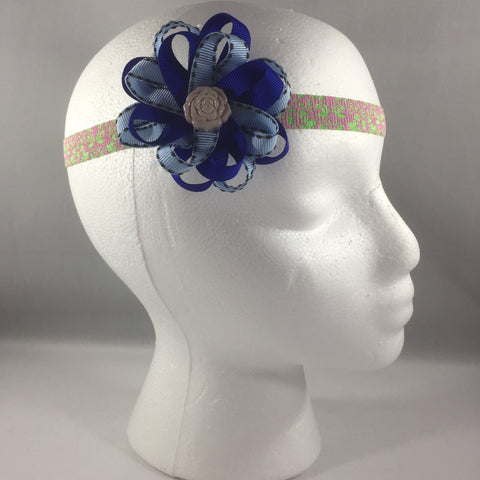 Stitched Headband for a baby age 3 - 6 mos.  Pretty Blue Ribbon Bow is on a hair-clip so it can be worn without the headband.