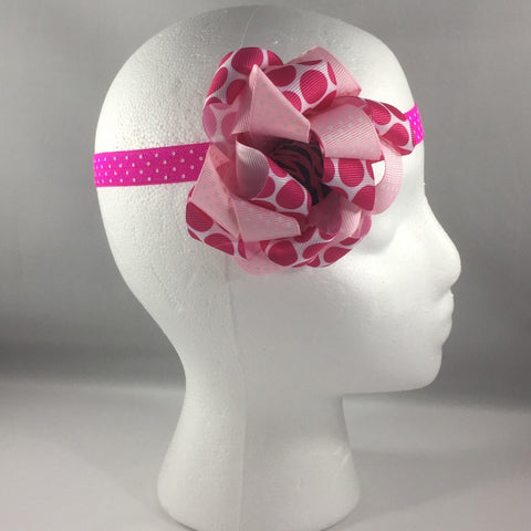 Stitched Headband for a baby age 3 - 6 mos.  Pretty Pink Polka Dot Ribbon Bow is on a hair-clip so it can be worn without the headband.