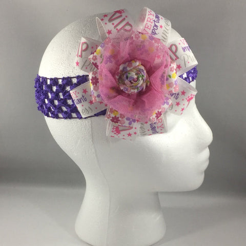 Headband, Size Child.  Handmade Pink Ribbon Bow with Purple net stretch headband.