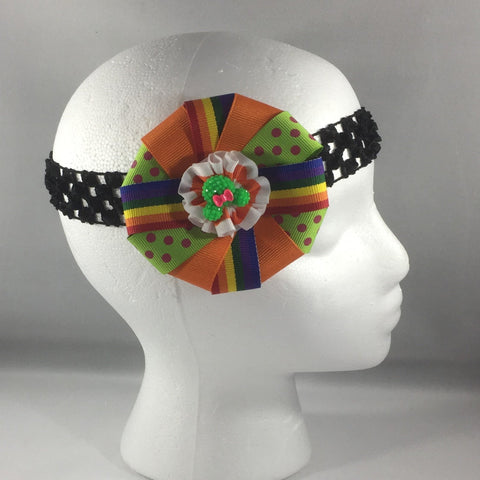 Accessory, Headband with Orange, Green and Blue Colorful Ribbon Bow, Child