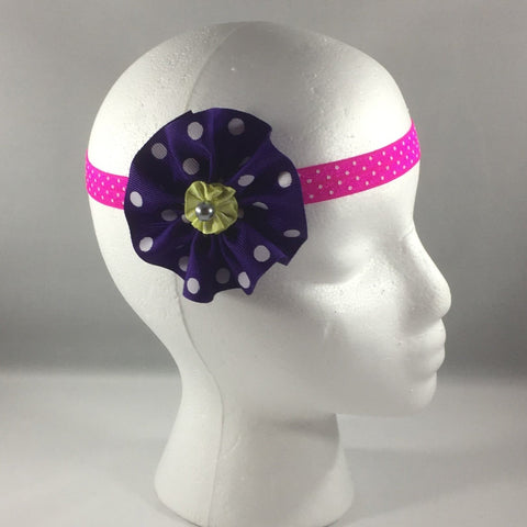 Stitched Headband for a baby age 3 - 6 mos.  Pretty Purple Polka Dot Ribbon Bow is on a hair-clip so it can be worn without the turquoise patterned headband shown in the picture.