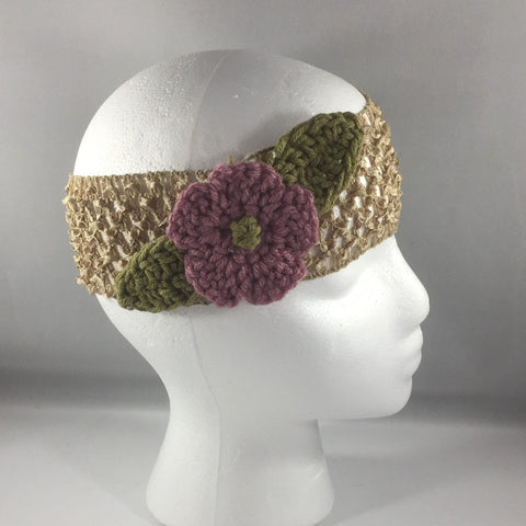 Headband, Size Adult.  Hand crocheted Pink Flower and Green Leaves with a tan net headband.