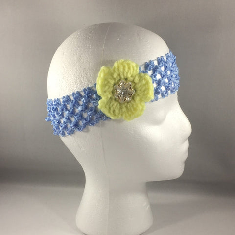 Headband, Size Child.  Hand Crocheted Yellow Flower with Pale Blue stretch net headband.