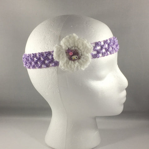 Headband, Size Child.  Hand Crocheted White Bow with Purple net stretch headband.