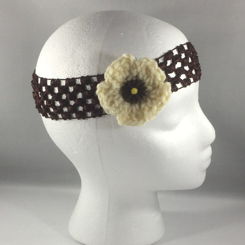 Headband, Size Child.  Hand Crocheted Pale Yellow Flower on a Black stretch net headband.