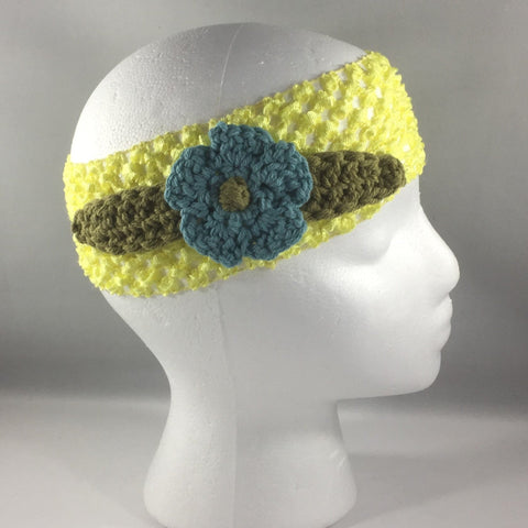 Headband, Size Child.  Hand Crocheted Bluish Turquoise Flower with Green Leaves on a Yellow stretch net headband.