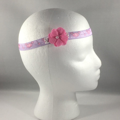 Headband, Size Newborn.  Small Pink Hand Made Bow is on a hair-clip so it can be worn without the stretch headband.
