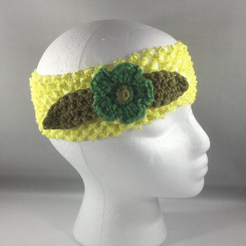 Headband, Size Child.  Hand crocheted Green Flower and Green Leaves with a yellow net headband.
