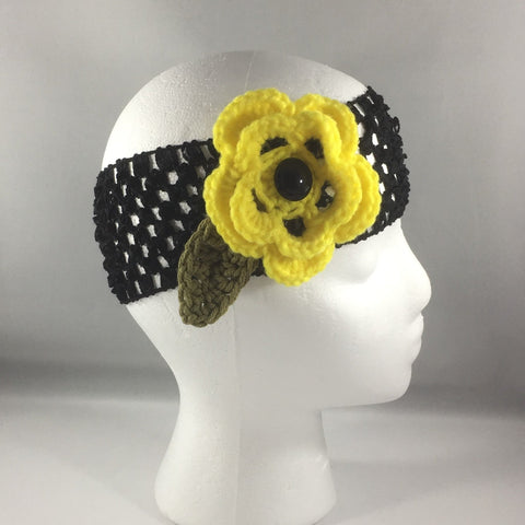 Headband, Size Adult.  Hand crocheted Yellow Flower with a black net headband.