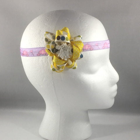 Headband, Size Newborn.  Yellow Hand Made Bow is on a hair-clip so it can be worn without the stretch headband.