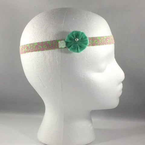 Headband, Size Newborn.  Small Green Bow is on a hair-clip so it can be worn without the stretch headband.