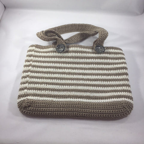 "Handbag Striped Brown and Cream,  2 Handles with 9"" drop.   12"" Wide x 9-1/2"" Deep.  Sits at waist from shoulder."