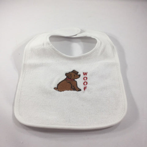 "White Baby Bib, with an  Embroidered Puppy and the word ""Woof"""