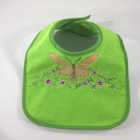 Embroidered Green Baby Bib with an Orange Butterfly and Purple Flowers