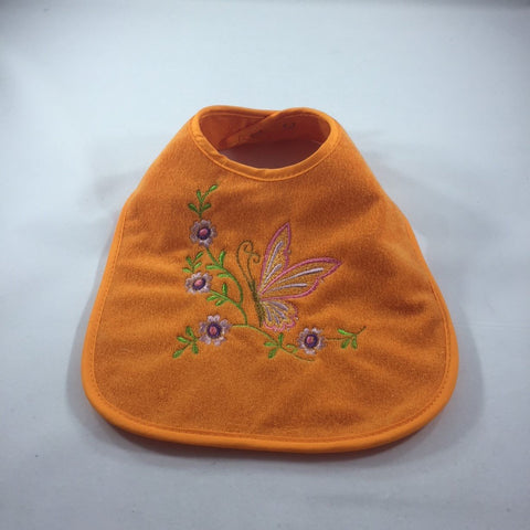 Embroidered Orange Baby Bib with Orange Butterfly and Purple Flowers