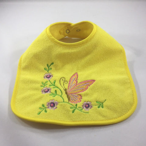 Yellow Baby Bib Embroidered with an Orange Butterfly and Purple Flowers