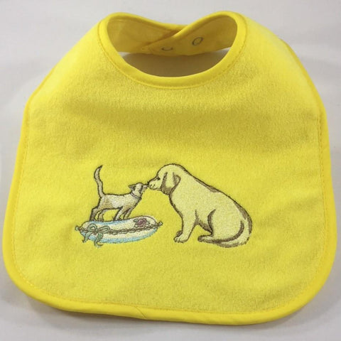 Yellow Baby Bib Embroidered with a Kitty and a Puppy