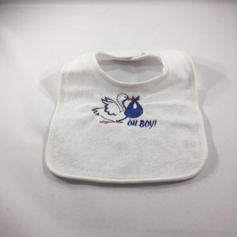"Embroidered White Baby Bib with an Embroidered Stork and the words"" Oh Boy""!"