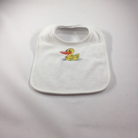 White Baby Bib with an Embroidered Yellow Duck