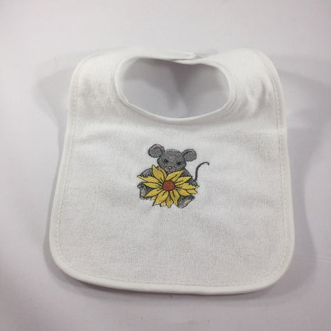 White Baby Bib, Embroidered with a Mouse holding a Yellow Sunflower
