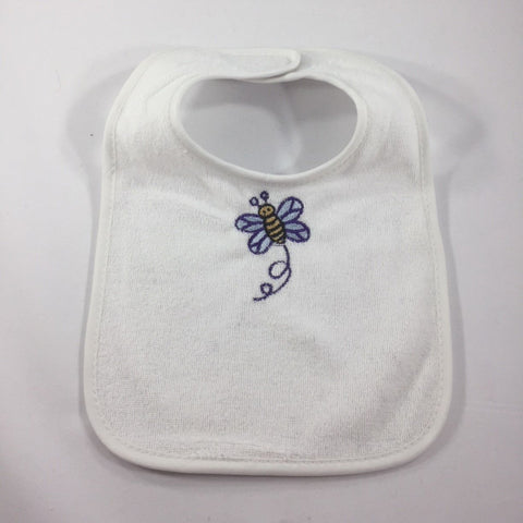 White Baby Bib with an Embroidered Blue Bumble Bee in flight