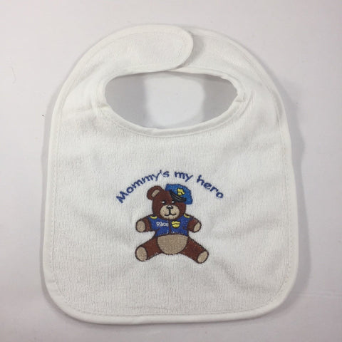 "White Baby Bib, with an Embroidered Teddy Bear and the words ""Mommy's My Hero"""
