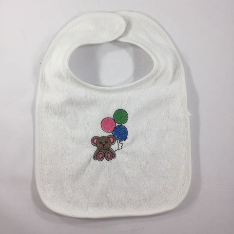 White Baby Bib with an Embroidered, Teddy with Balloons